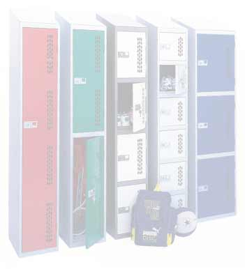 coloured lockers with sloping tops from storage solutions ltd