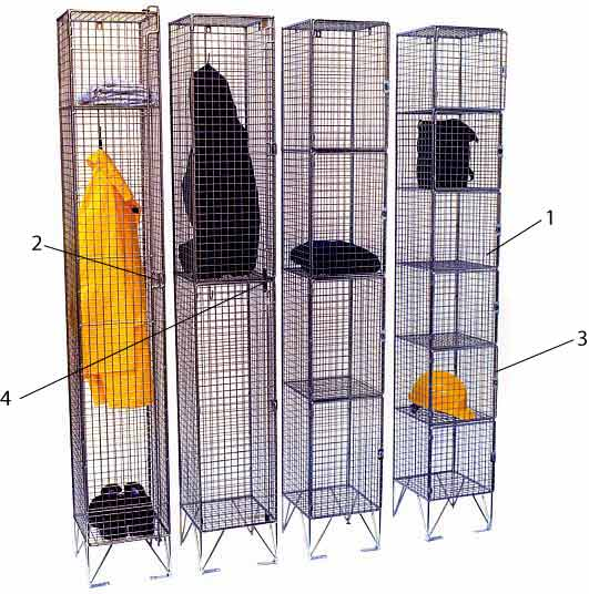 wire mesh lockers in 1 to 6 tier